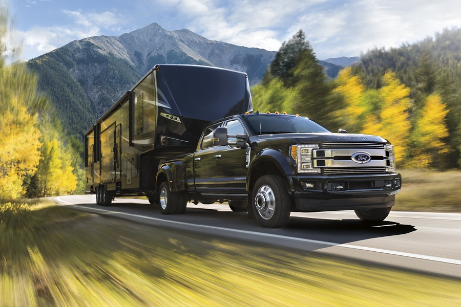 2019 Ford F 1 50 towing a large trailer