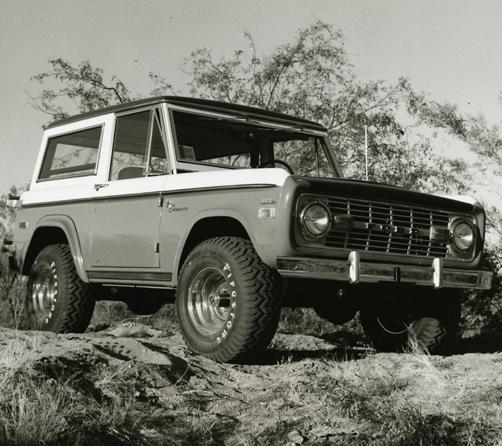 A black and white image of a 1971 Baja Bronco