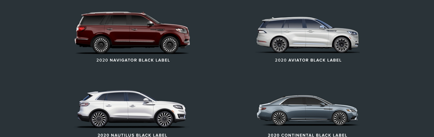 2020 Lincoln Black Label vehicle Lineup shown