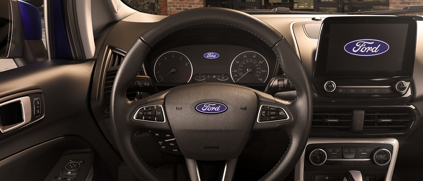 The leather wrapped steering wheel in the 2019 Ford EcoSport S E S
