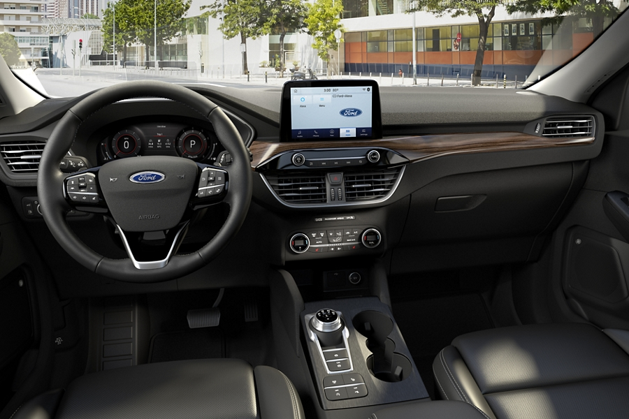 Interior of 2020 Ford Escape information screen displaying available drive modes