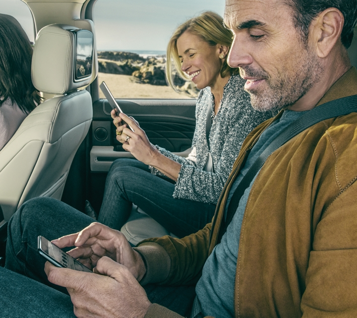 Second row passengers charging devices in the 2019 Expedition