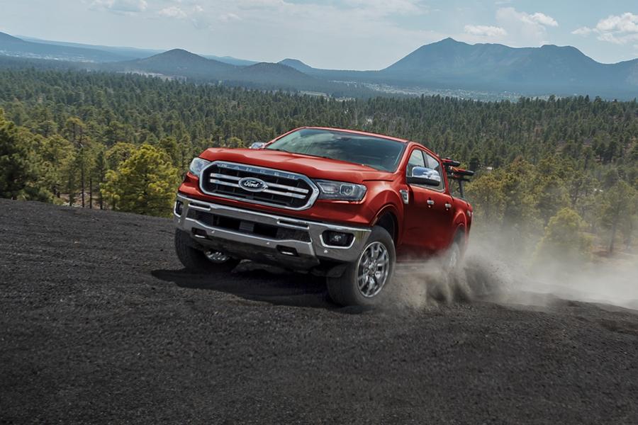 2019 Ford Ranger racing across desert terrain