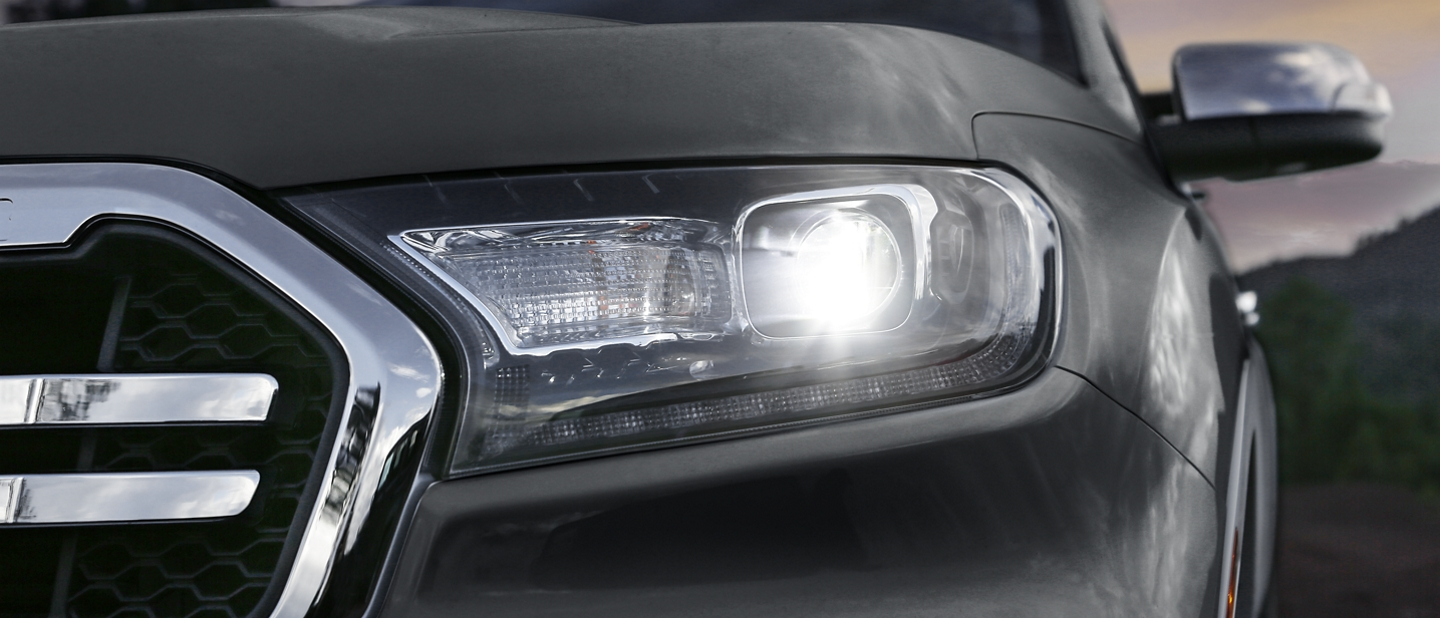 An up close Image of a Rangers front head lamp