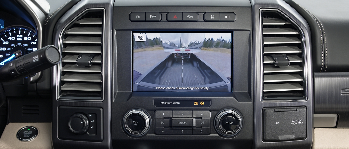 Camera view of the Trailer Reverse Guidance system of the 2020 Super Duty