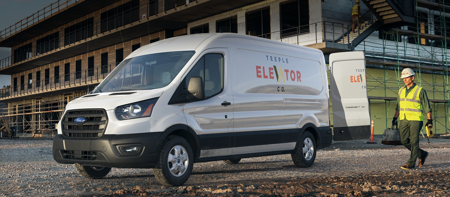 Ford transit cargo van being used by an elevator technician on a construction site