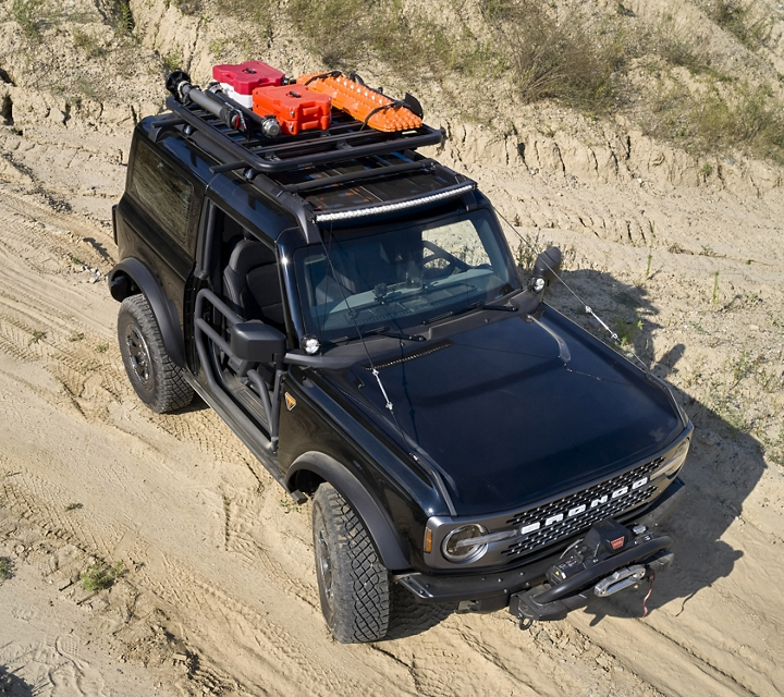 2021 Ford Bronco two door Badlands in Shadow Black with available Yakima roof rack system out in the wild