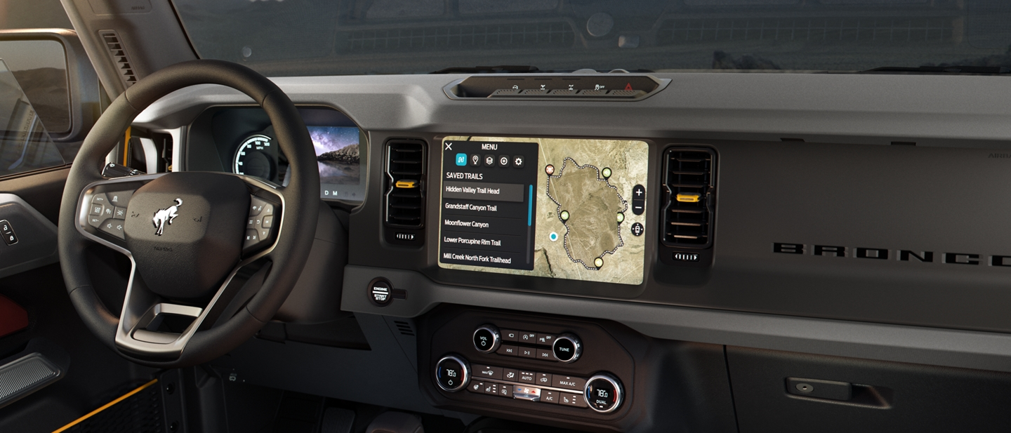 Interior view of 2021 Ford Bronco with available tech