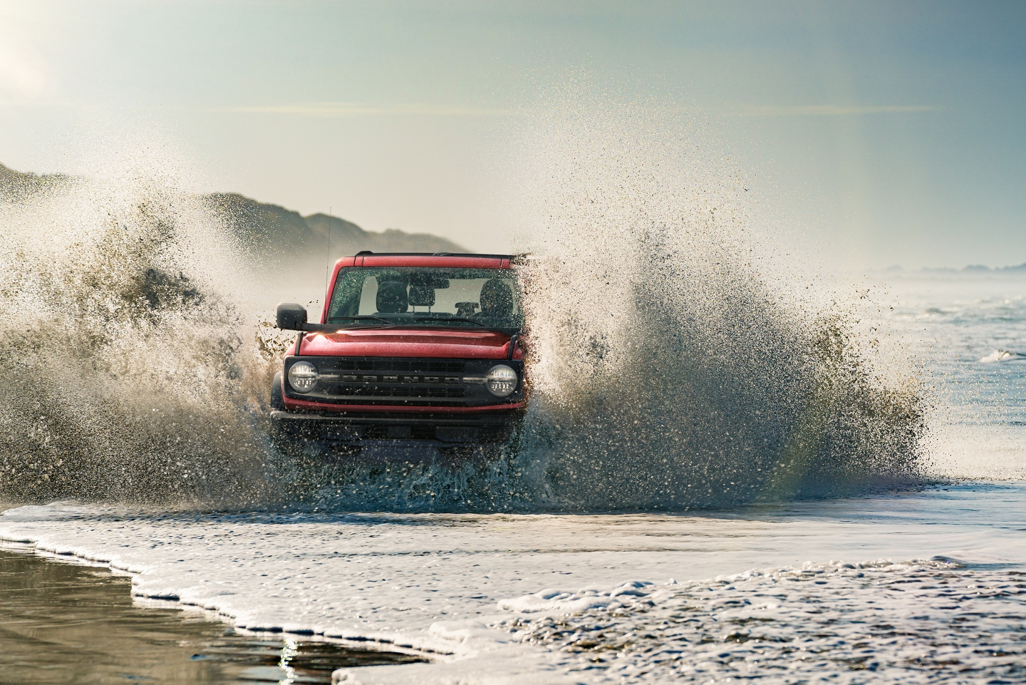 2021 Ford Bronco being driven by the water