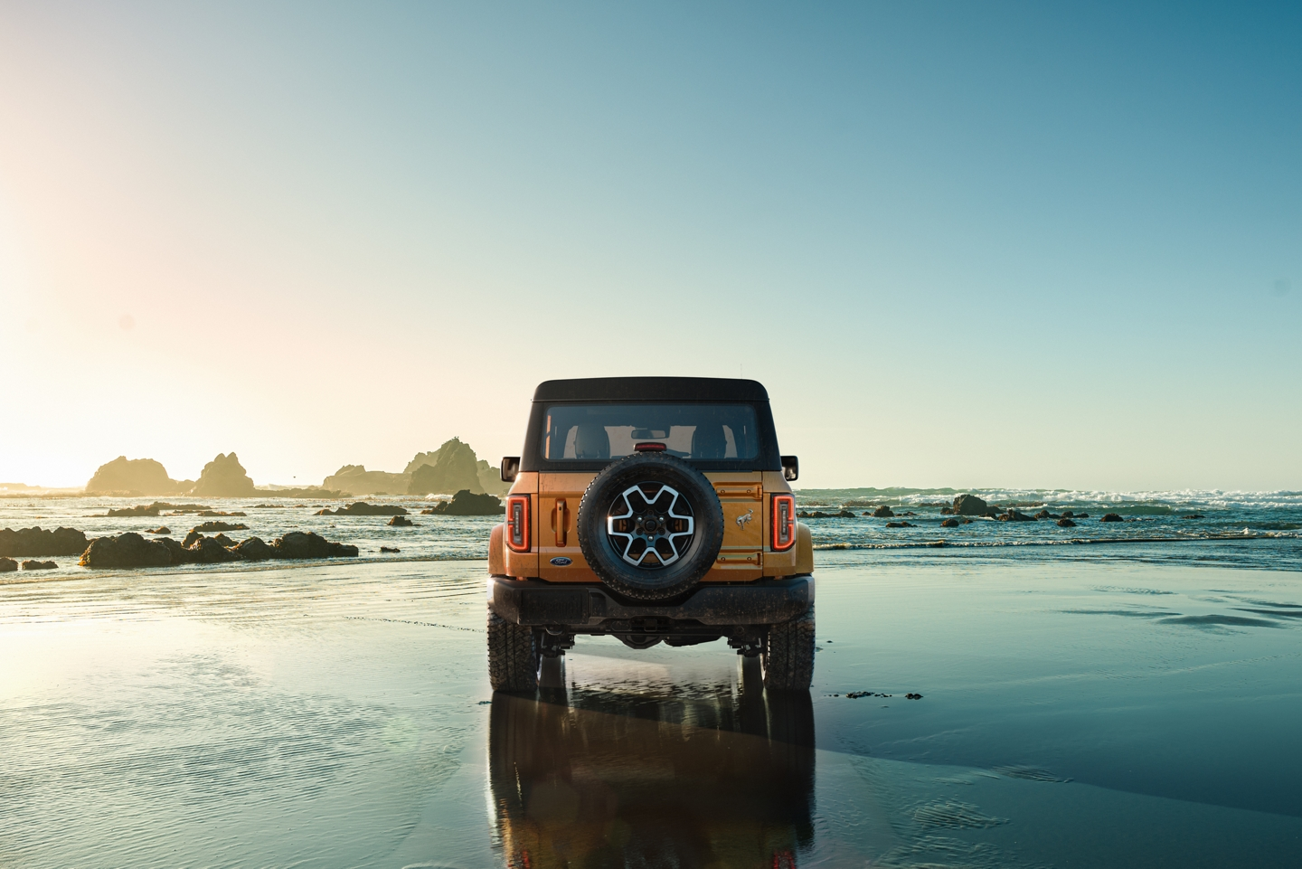 2021 Ford Bronco on the shoreline