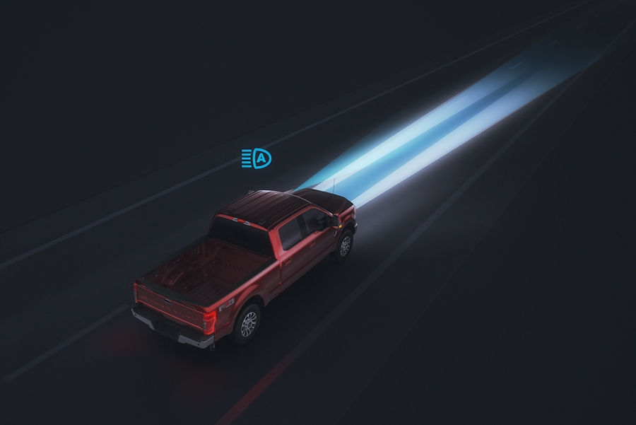 Animation of 2020 Ford Super Duty Chassis Cab using auto high beams