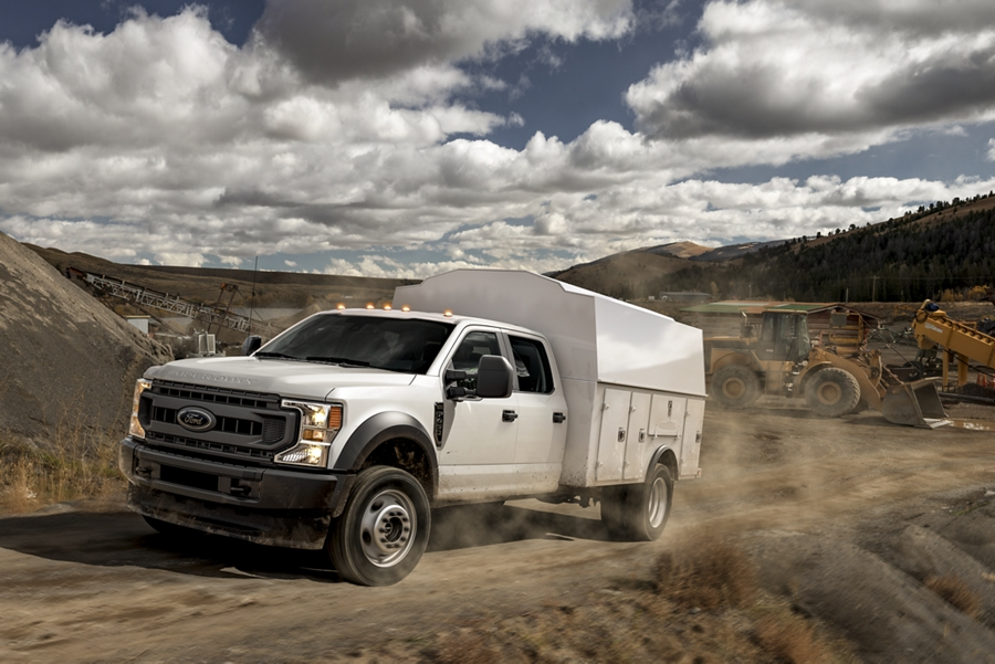 2020 Ford Super Duty Chassis Cab with utility cab and utility box at worksite