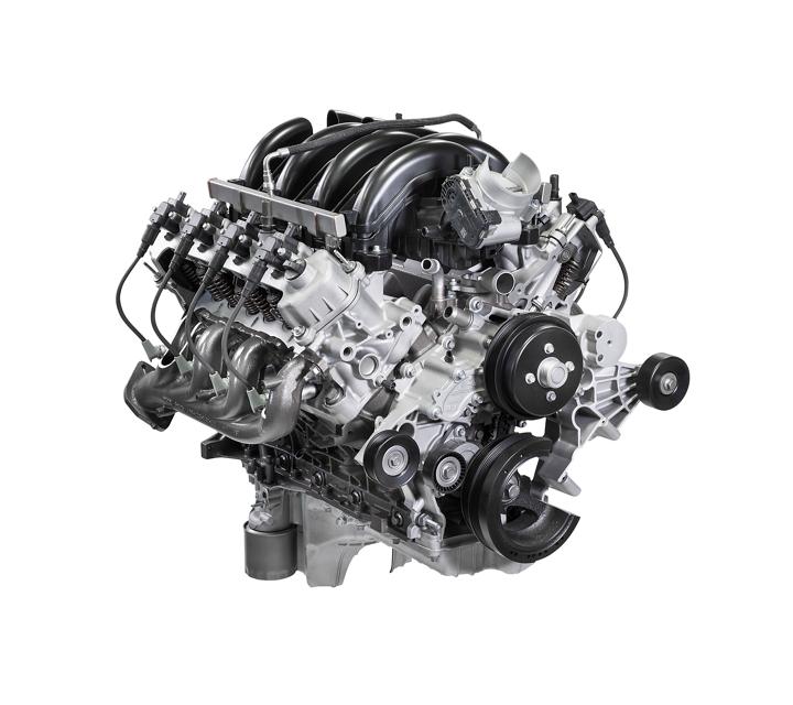 Close up of the standard 7 point 3 liter v 8 engine