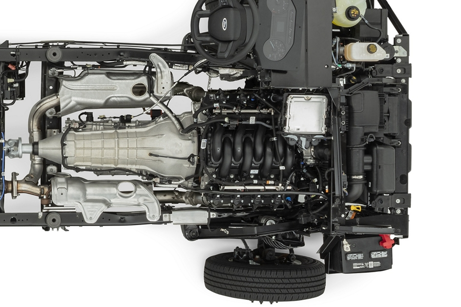 Overhead view of the 7 point 3 liter V 8 engine