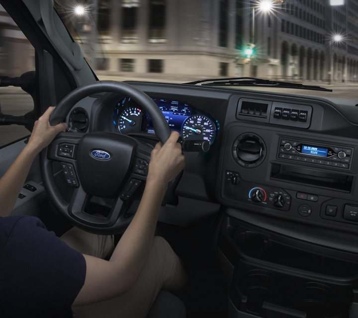 Close up of the 2021 Ford E Series Cutaway center console