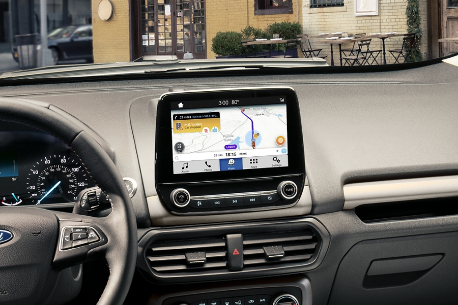 A look at the dashboard of the 2019 EcoSport with Waze navigational maps shown on the available 8 inch touchscreen