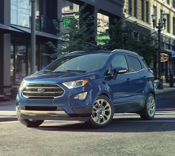 2019 Ford EcoSport Titanium in Lightning Blue at an intersection
