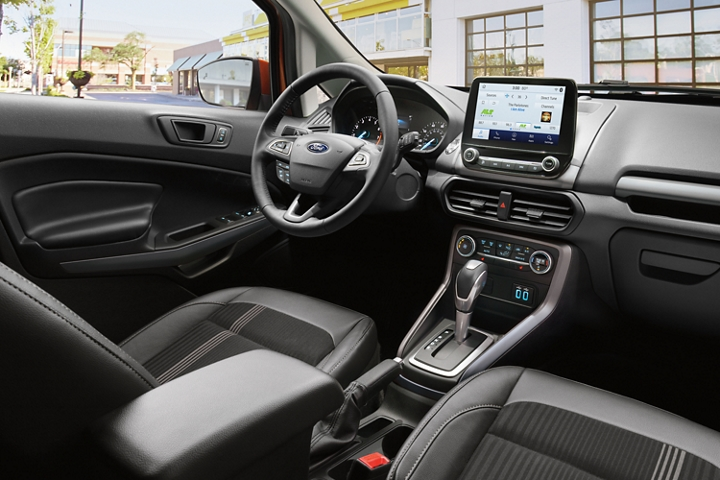 The 2020 Ford EcoSport S E S interior features bold Ano Gray accents