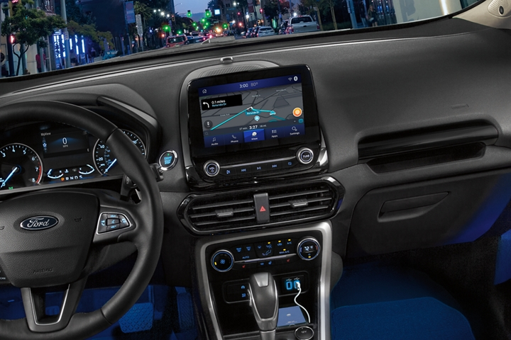 Close up of the center touchscreen with waze