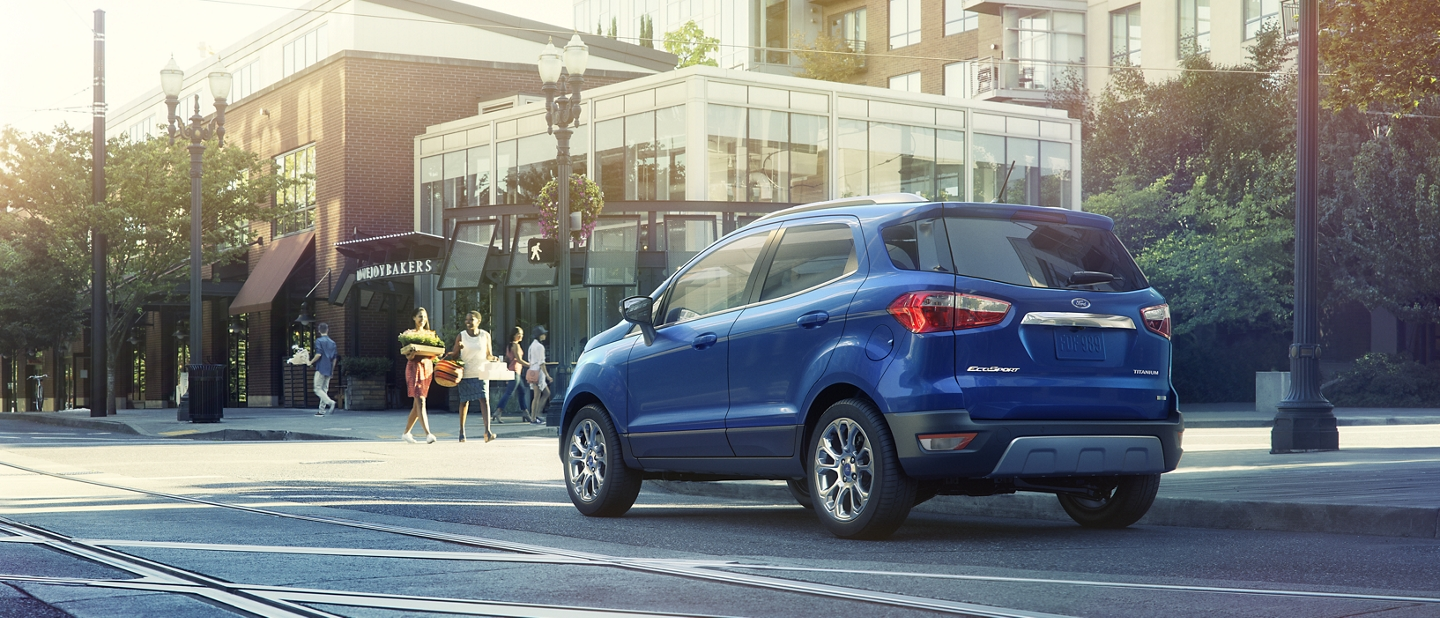 2020 Ford EcoSport Titanium in Lightning Blue at an intersection