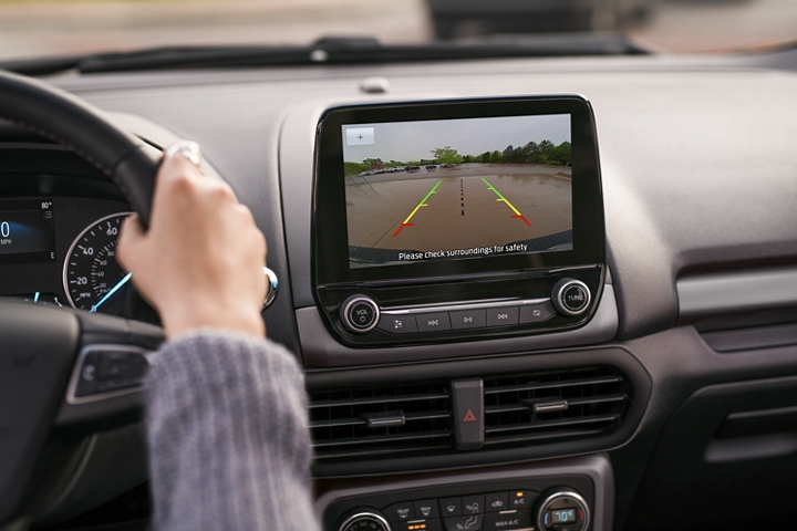 Close up of the center touchscreen showing the rear view camera