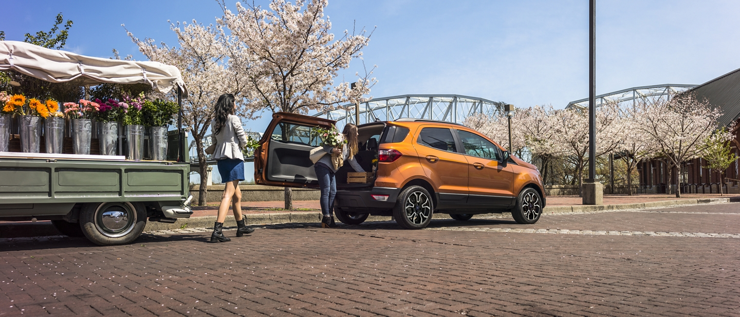 A woman putting flowers into her 2020 Ford EcoSport with rear swing gate