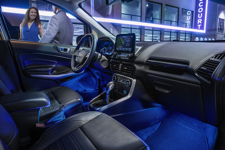 The 2020 Ford EcoSport interior illuminated by available ambient lighting