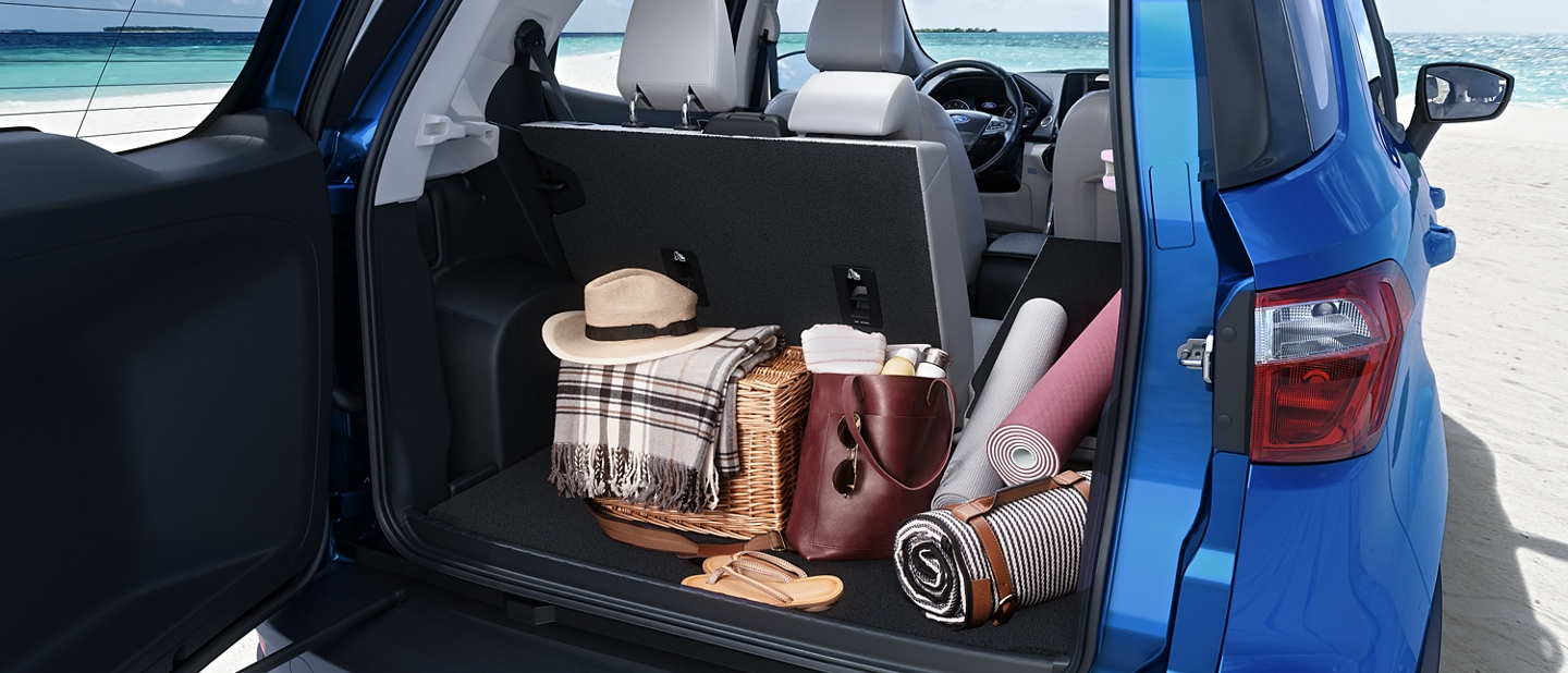 A 2020 Ford Ecosport with an open rear swing gate and trunk full of beach gear