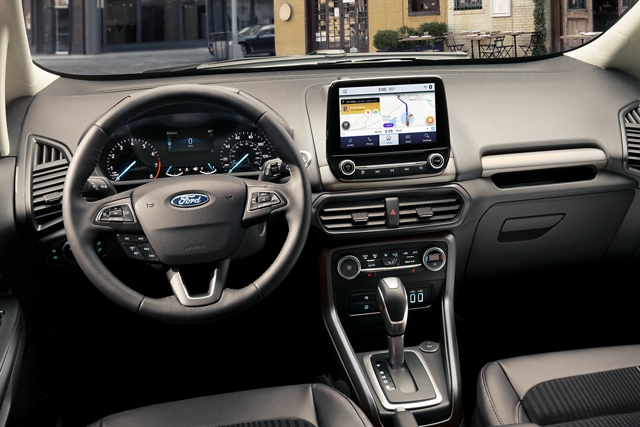 The front panel of the 2020 Ford EcoSport with Waze navigational maps shown on the available 8 inch touchscreen