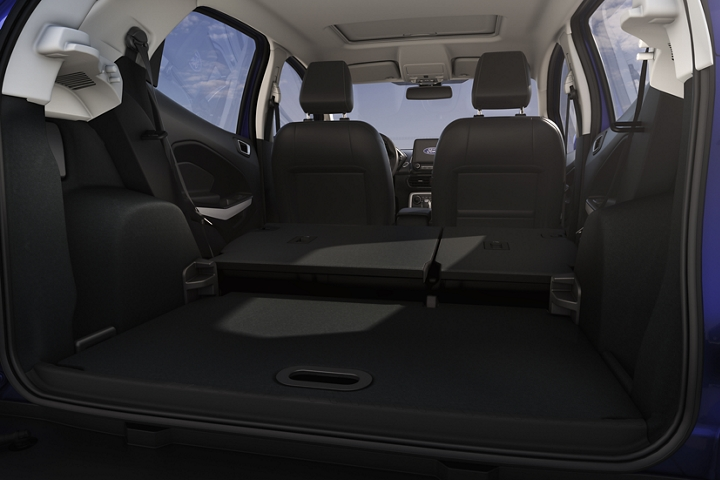A view of the open cargo area with the second row seats folded down