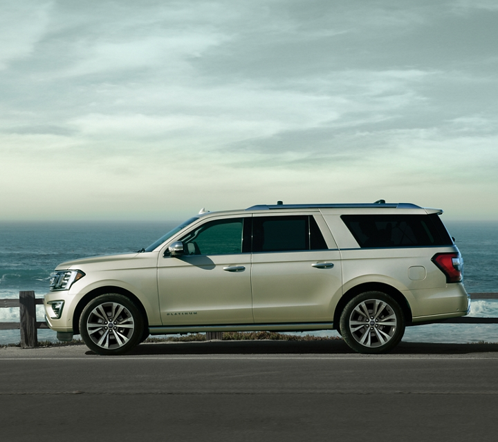 2020 Ford Expedition Platinum MAX in Star White Metallic Tri Coat parked by scenic view