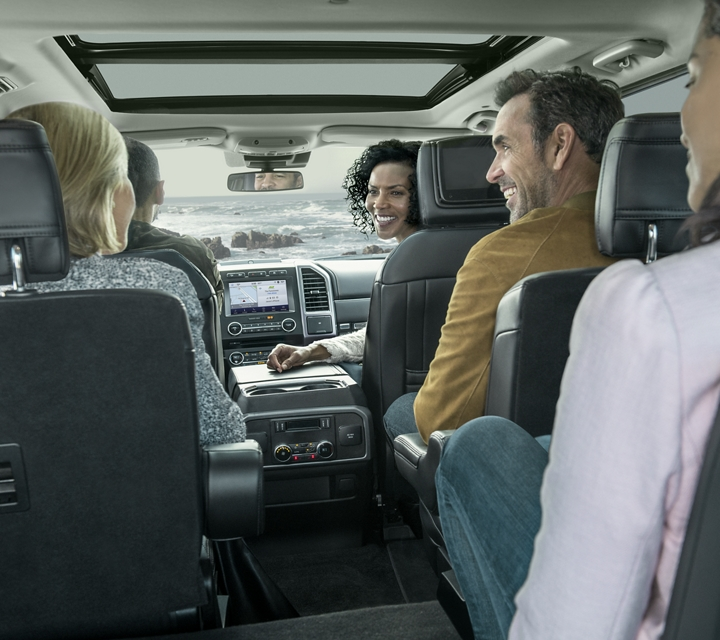 2020 Ford Expedition Platinum interior shown in Ebony