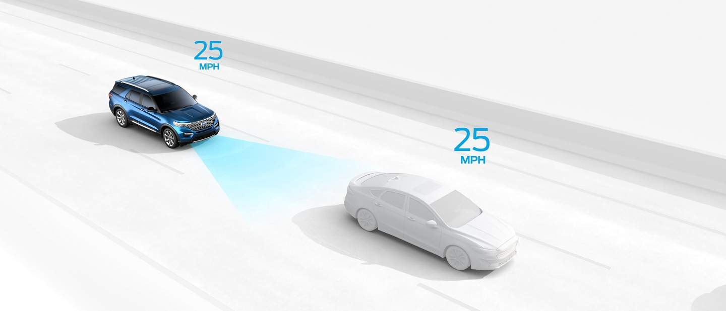 Graphic of an Explorer demonstrating Intelligent Adaptive Cruise Control