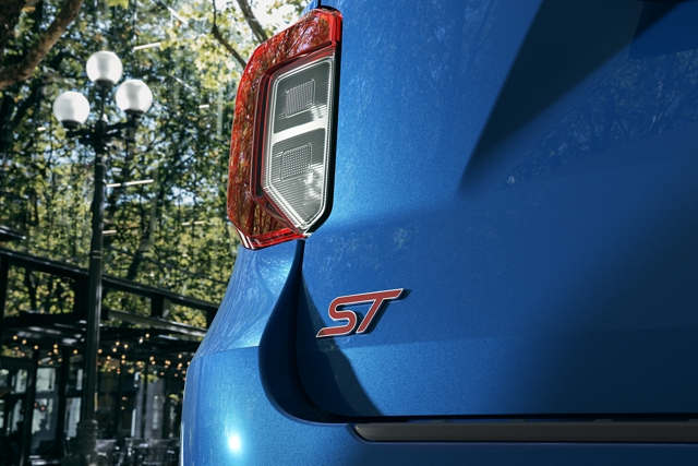 A close up of the unique S T badging on the rear of an Explorer S T