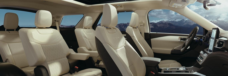 Side view of a 2020 Explorer platinum interior in medium light sandstone