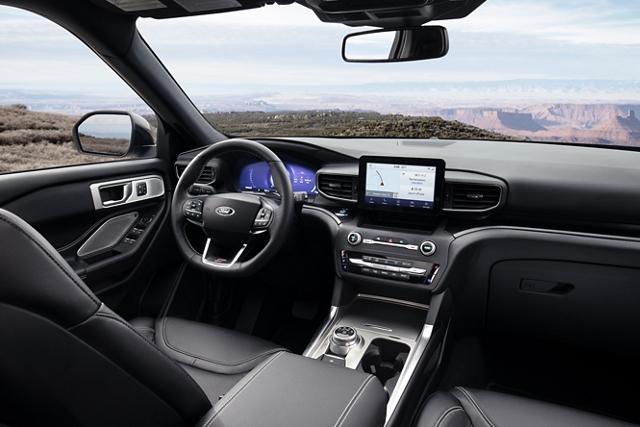 2020 Explorer S T interior in Ebony