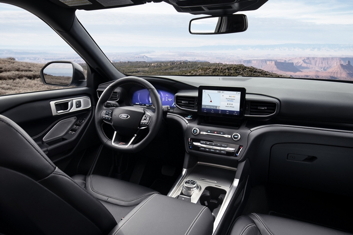 Interior view of the explorer S T leather seating surfaces with micro perforation and accent stitching