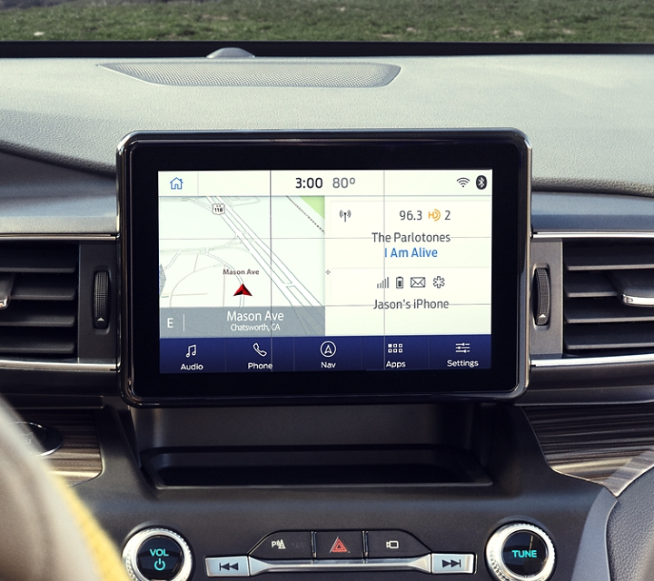 Interior view of the 2020 Explorer with an L E D touchscreen