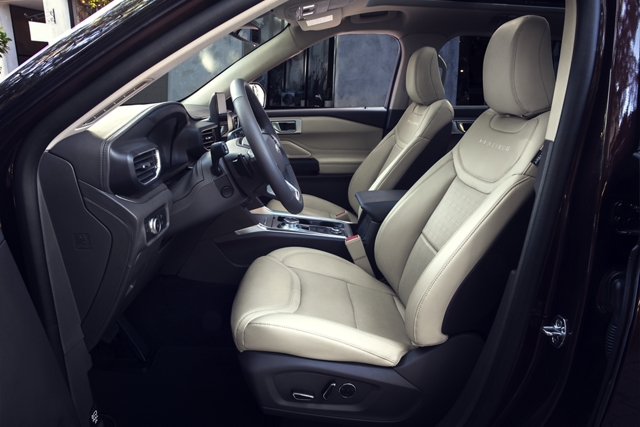 Side view of the 2020 Explorer interior with multicontour seats with active motion