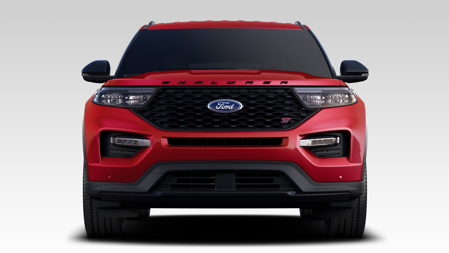 2020 Ford Explorer S T in Rapid Red