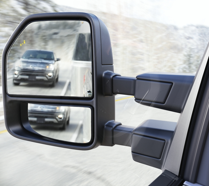 Close up of the extended towing mirrors