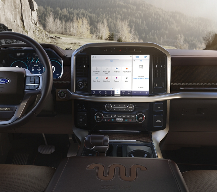 Close up of the twelve inch center screen in a 2021 Ford f one fifty