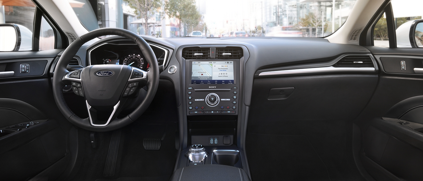 2020 Ford Fusion interior with a touchscreen and connected technology