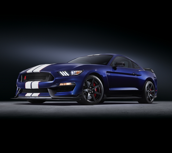 2020 Ford Mustang Shelby G T 3 50 in kona blue with a black background