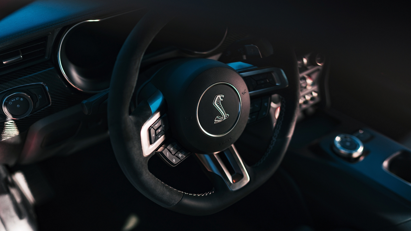 Close up of the 2020 Ford Mustang G T 500 steering wheel with the shelby logo in the center