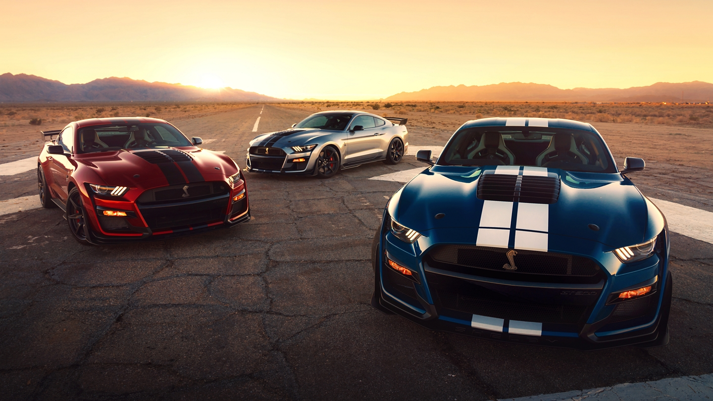 Three 2020 Ford Mustang Shelby G T 500s in the desert