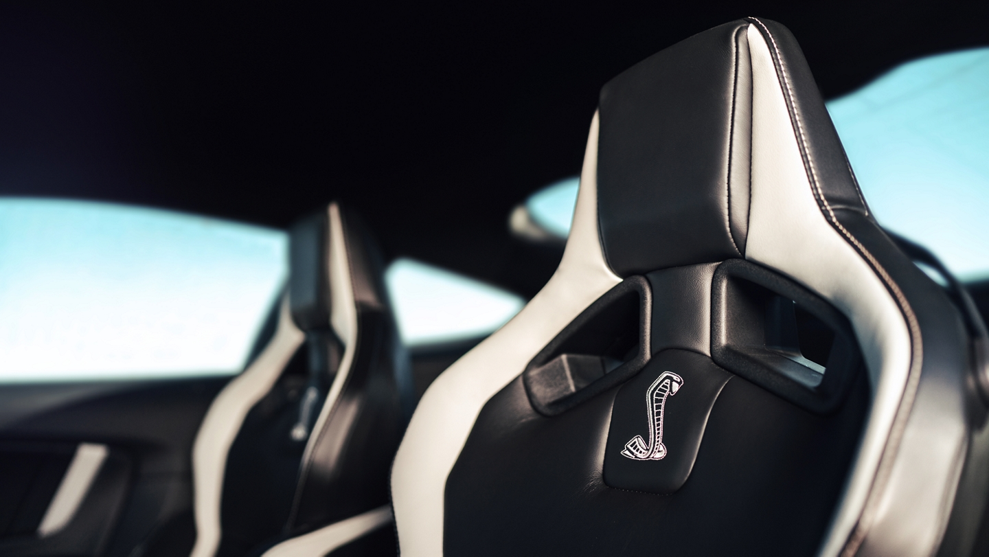 Close up of the 2020 Ford Mustang G T 500 seats with a shelby snake logo