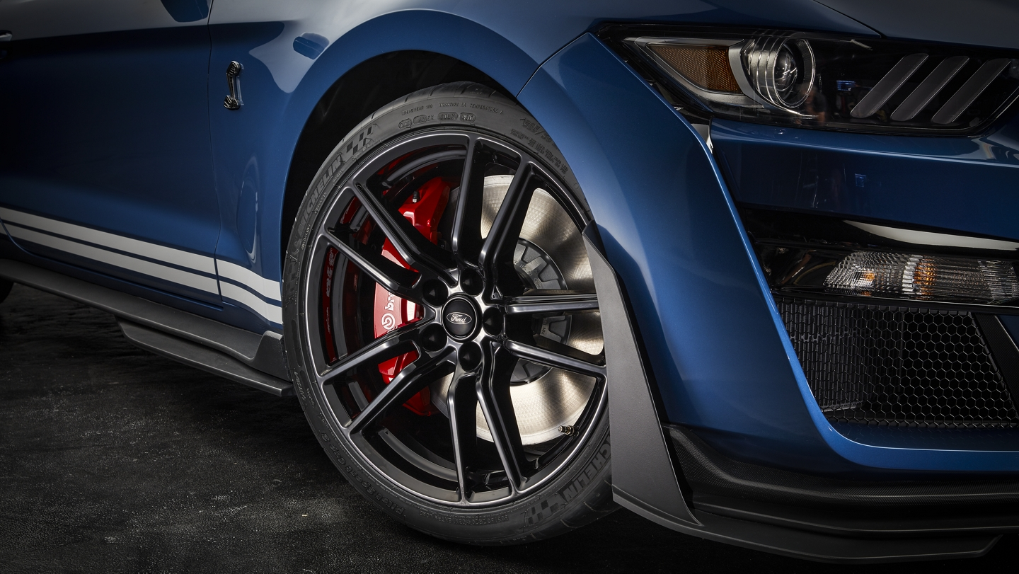 Close up of the 2020 Ford Mustang G T 500 20 inch exposed carbon fiber wheel