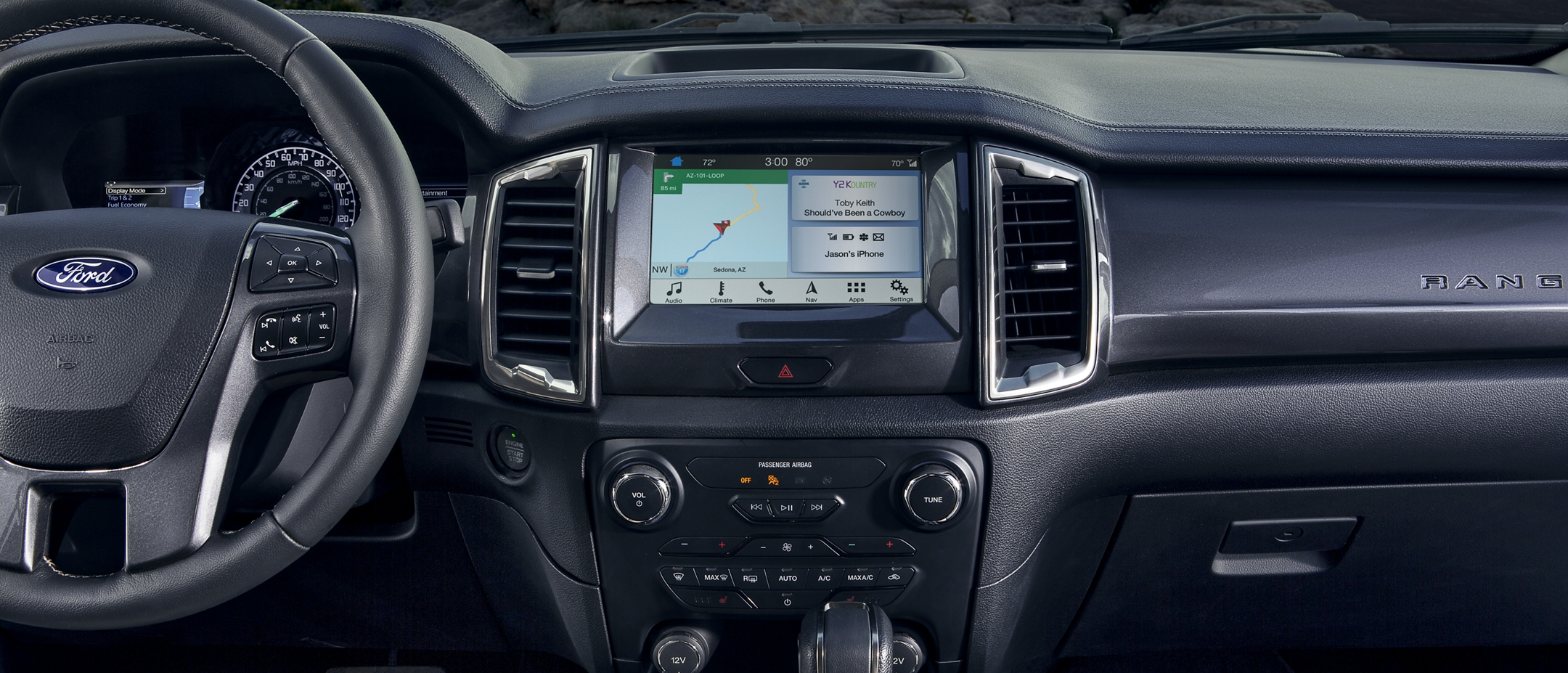 SYNC 3 on eight inch center dash screen of 2019 Ford Ranger