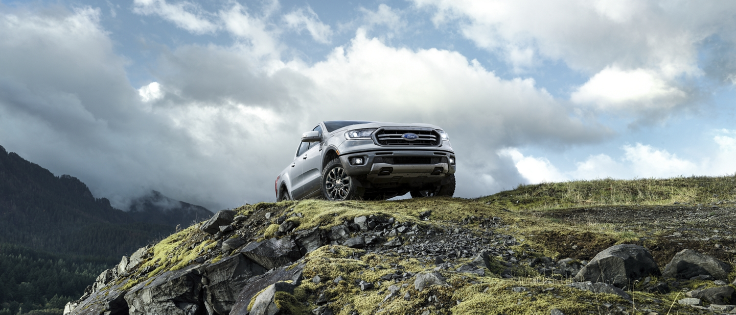 2020 Ford Ranger in Iconic Silver in a rocky mountain wilderness